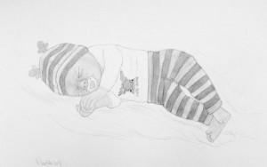 Lille Malthe tegnede jeg i hans ved hjælp af fotos af tøjet. Malthe blev født i 26 uge og levede kun i 5 dage.<3